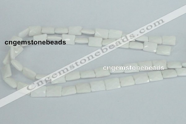 CAA07 15.5 inches 10*14mm faceted rectangle white agate gemstone beads