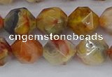CAA1017 15.5 inches 12mm faceted nuggets red crazy lace agate beads
