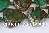 CAA1139 18*20mm - 25*35mm faceted freeform dragon veins agate beads
