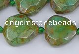 CAA1140 18*20mm - 25*35mm faceted freeform dragon veins agate beads