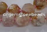 CAA1208 15.5 inches 10*14mm - 12*16mm faceted nuggets sakura agate beads
