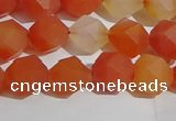 CAA1237 15.5 inches 8mm faceted nuggets matte red agate beads