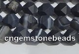 CAA1242 15.5 inches 6mm faceted nuggets matte black line agate beads