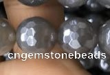 CAA1262 15.5 inches 10mm faceted round AB-color grey agate beads