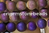 CAA1274 15.5 inches 6mm round matte plated druzy agate beads