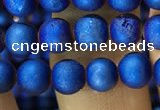 CAA1279 15.5 inches 6mm round matte plated druzy agate beads