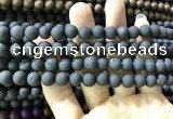 CAA1300 15.5 inches 8mm round matte plated druzy agate beads