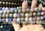 CAA1321 15.5 inches 10mm round matte plated druzy agate beads