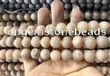 CAA1332 15.5 inches 12mm round matte plated druzy agate beads