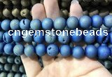 CAA1358 15.5 inches 14mm round matte plated druzy agate beads