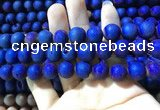 CAA1360 15.5 inches 14mm round matte plated druzy agate beads