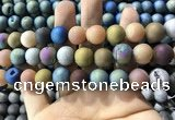 CAA1362 15.5 inches 14mm round matte plated druzy agate beads