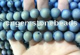 CAA1377 15.5 inches 16mm round matte plated druzy agate beads