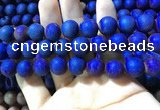 CAA1380 15.5 inches 16mm round matte plated druzy agate beads