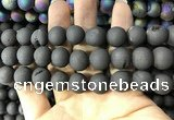 CAA1381 15.5 inches 16mm round matte plated druzy agate beads