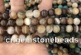 CAA1478 15.5 inches 12mm round matte banded agate beads wholesale