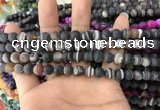 CAA1480 15.5 inches 6mm round matte banded agate beads wholesale