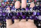 CAA1652 15.5 inches 10mm faceted round banded agate beads