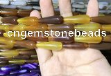 CAA2067 15.5 inches 10*30mm teardrop agate beads wholesale