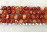 CAA2230 15.5 inches 14mm faceted round banded agate beads