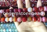 CAA2237 15.5 inches 14mm faceted round banded agate beads