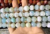 CAA2244 15.5 inches 14mm faceted round banded agate beads