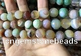 CAA2268 15.5 inches 14mm faceted round banded agate beads