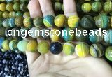 CAA2275 15.5 inches 14mm faceted round banded agate beads