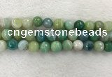 CAA2282 15.5 inches 14mm faceted round banded agate beads