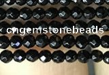 CAA2413 15.5 inches 2mm faceted round black agate beads wholesale