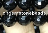 CAA2428 15.5 inches 10mm faceted round black agate beads wholesale