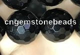 CAA2433 15.5 inches 20mm faceted round black agate beads wholesale