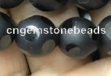 CAA2461 15.5 inches 12mm carved round matte black agate beads