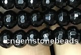 CAA2469 15.5 inches 4*6mm faceted rondelle black agate beads