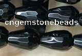 CAA2510 15.5 inches 6*9mm faceted teardrop black agate beads