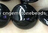 CAA2531 15.5 inches 20mm flat round black agate beads wholesale