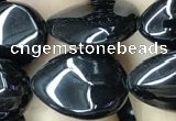 CAA2548 15.5 inches 12*16mm flat teardrop black agate beads wholesale