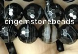 CAA2646 15.5 inches 8mm faceted round banded black agate beads