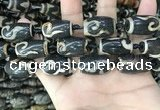 CAA2686 15.5 inches 13*22mm - 14*25mm drum tibetan agate dzi beads