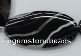 CAA269 15.5 inches 30*55mm oval black line agate gemstone beads
