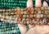 CAA2966 15 inches 8mm faceted round fire crackle agate beads wholesale