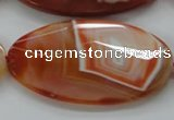 CAA305 15.5 inches 32*52mm faceted oval red line agate beads