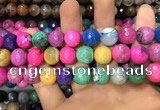 CAA3150 15 inches 12mm faceted round fire crackle agate beads wholesale