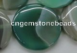 CAA333 15.5 inches 34mm flat round green line agate beads