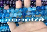 CAA3374 15 inches 10mm faceted round agate beads wholesale