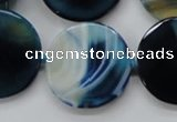 CAA348 15.5 inches 18mm faceted coin blue line agate beads