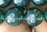 CAA3546 15.5 inches 12mm faceted round AB-color green agate beads