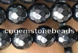 CAA3555 15.5 inches 6mm faceted round AB-color black agate beads