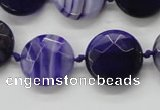 CAA356 15.5 inches 18mm faceted coin violet line agate beads
