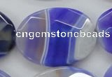 CAA359 15.5 inches 30*40mm faceted oval violet line agate beads